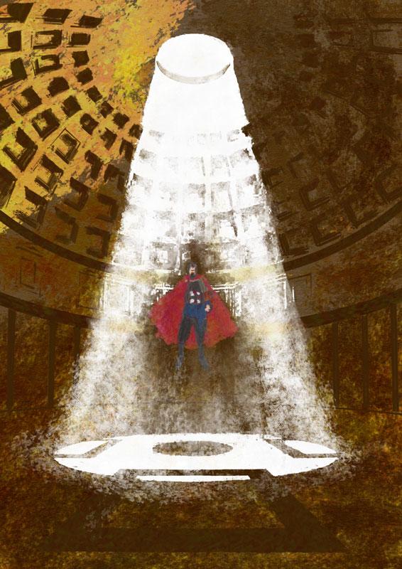 illustration pantheon rome roma alien science fiction apotheosis superhero knight fly