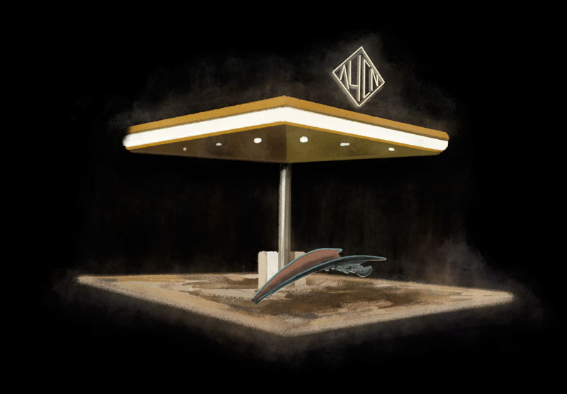 illustration ufo scooter alien pump future science fiction