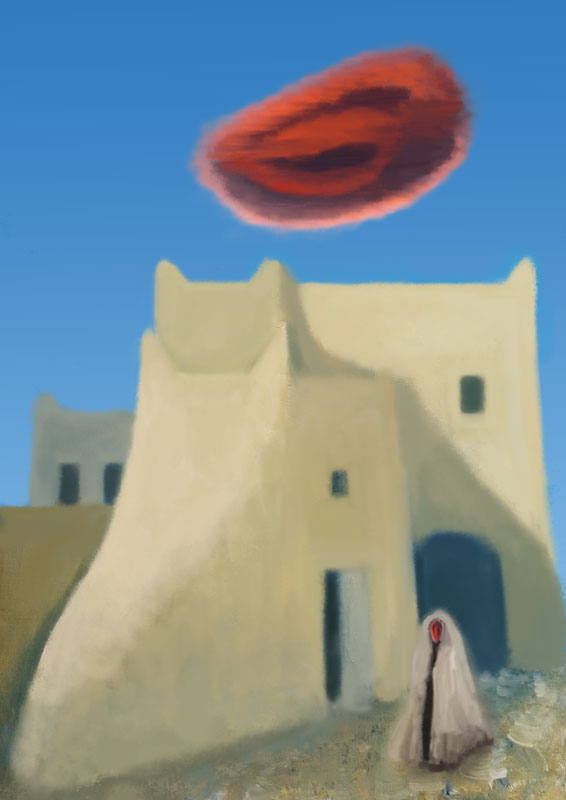 illustration red eye cloud blue sky mediterranean village shaman