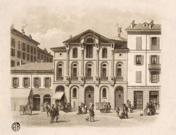 Teatro Fossati, via Rivoli, 6 Milano, con fronti decorati in terracotta dallo scultore Andrea Boni