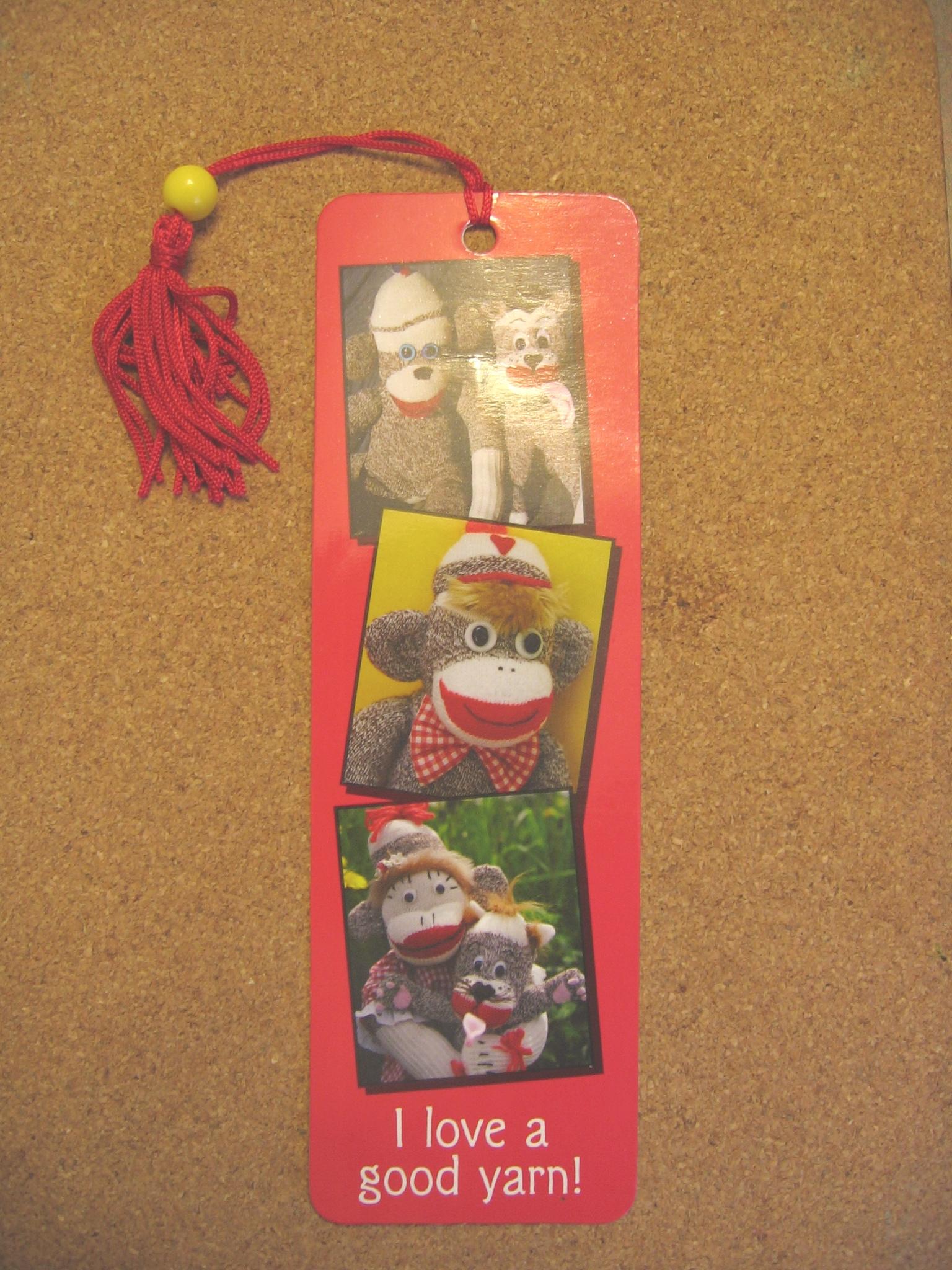 sock monkey bookmark