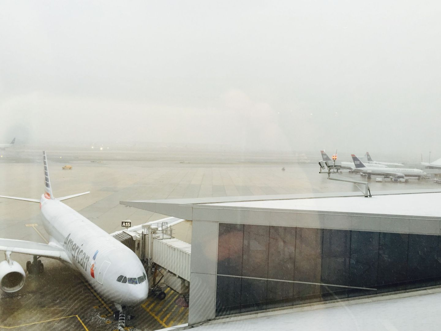 A whiteout gradually engulfs the runway. Pic by @jabberingjourno