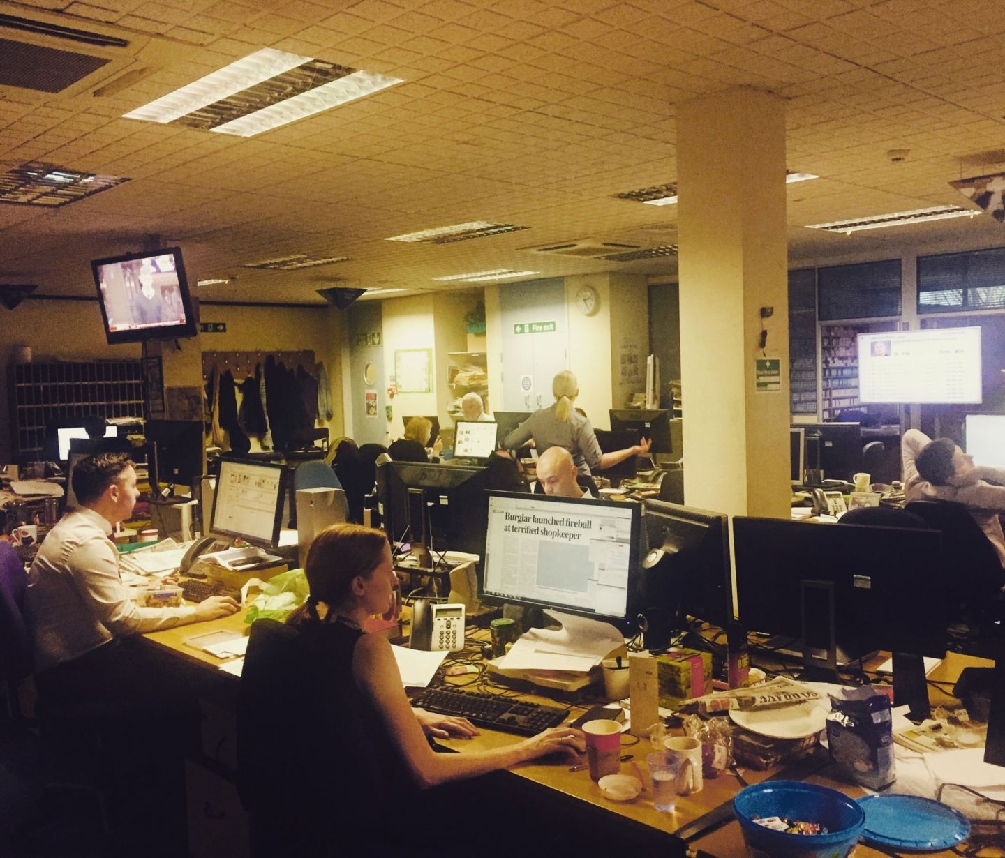 The newsroom at Christmas. Pic @jabberingjourno