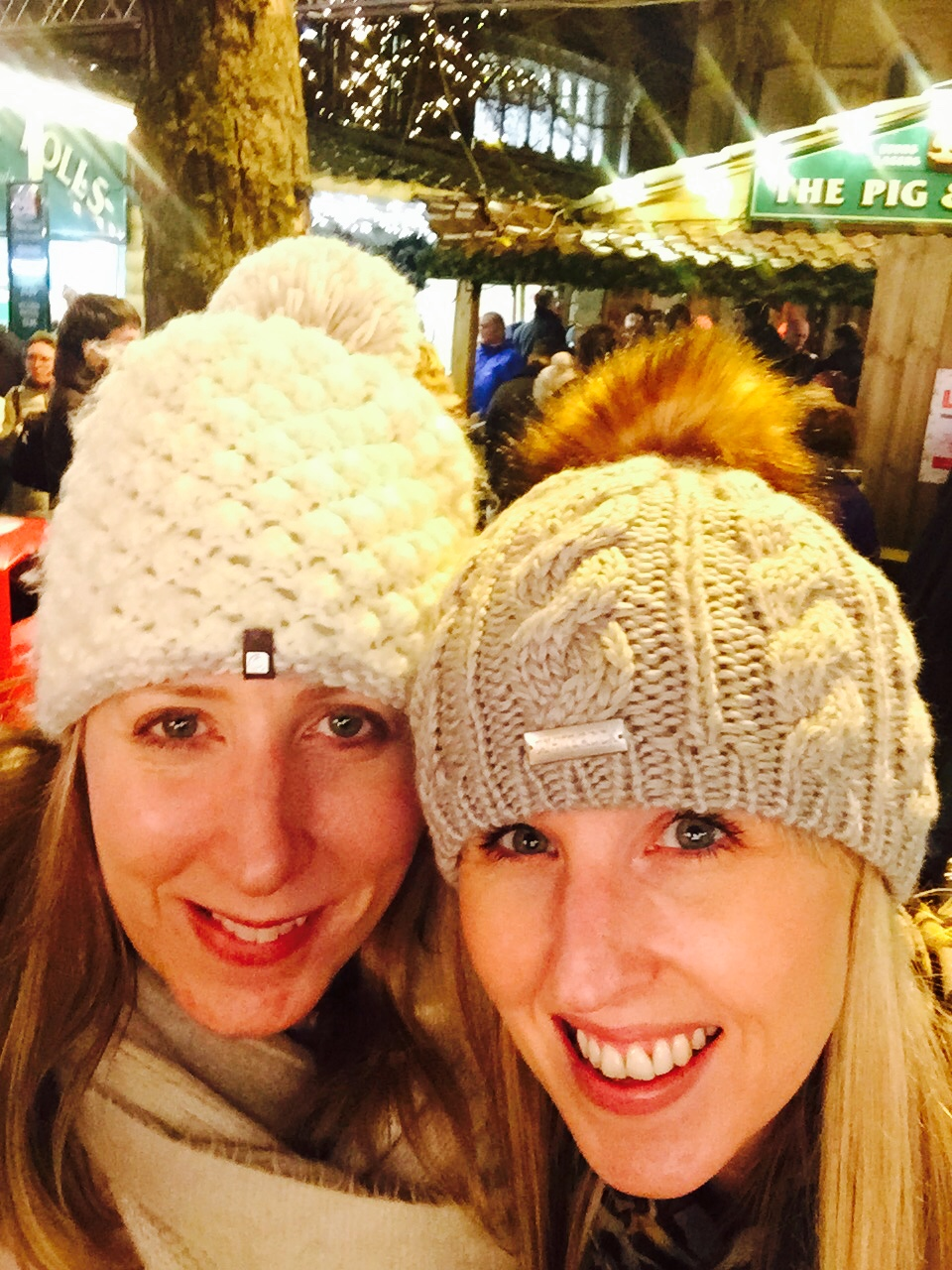 Have bobbles, will travel. My friend Mel (right) and I get wrapped up for the Manchester Christmas experience. Pic by @jabberingjounro