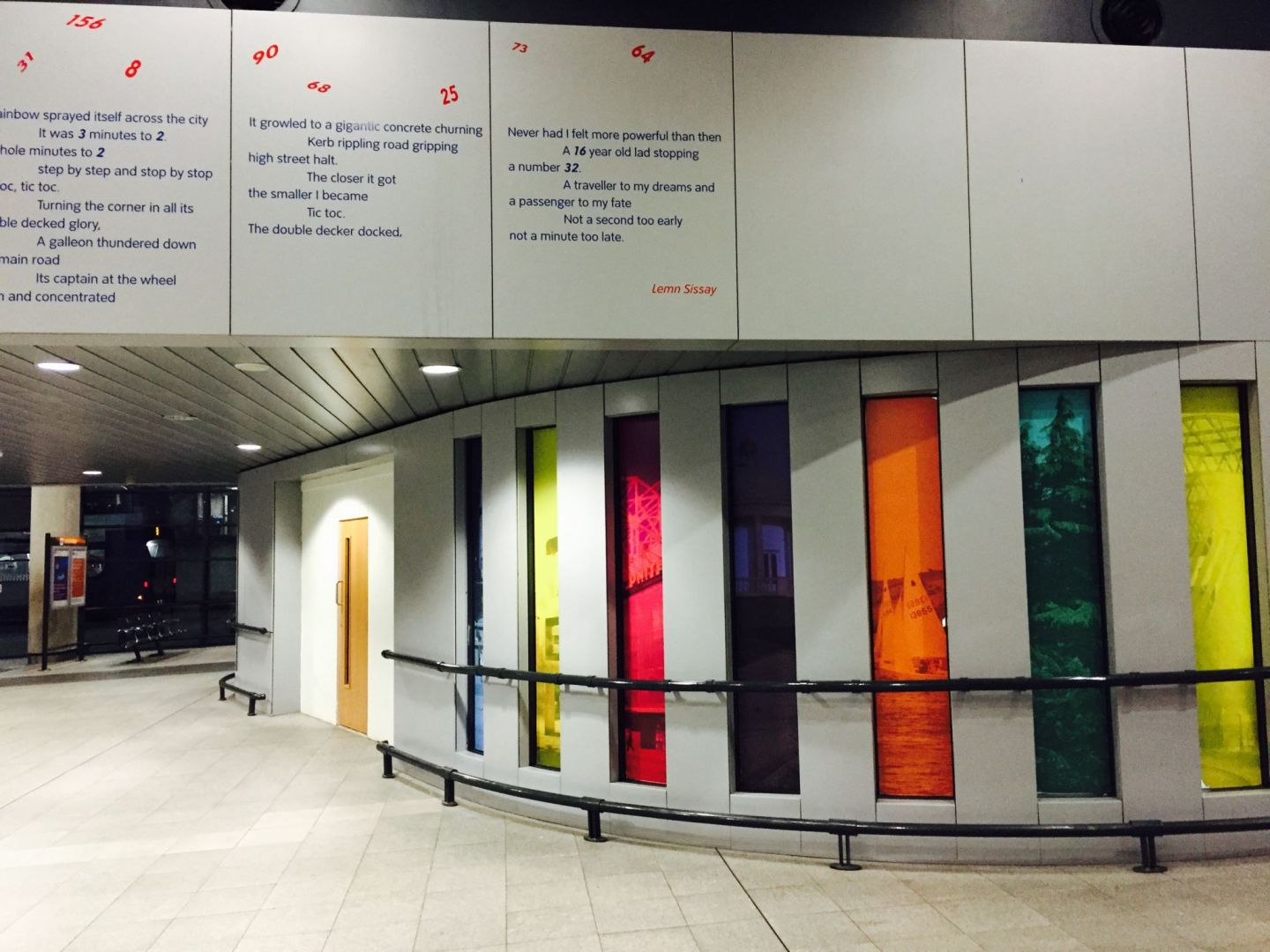 The interior of Shude Hill bus station, Manchester, including the 'poem for peace' by Lemn Sissay. Pic @jabberingjourno
