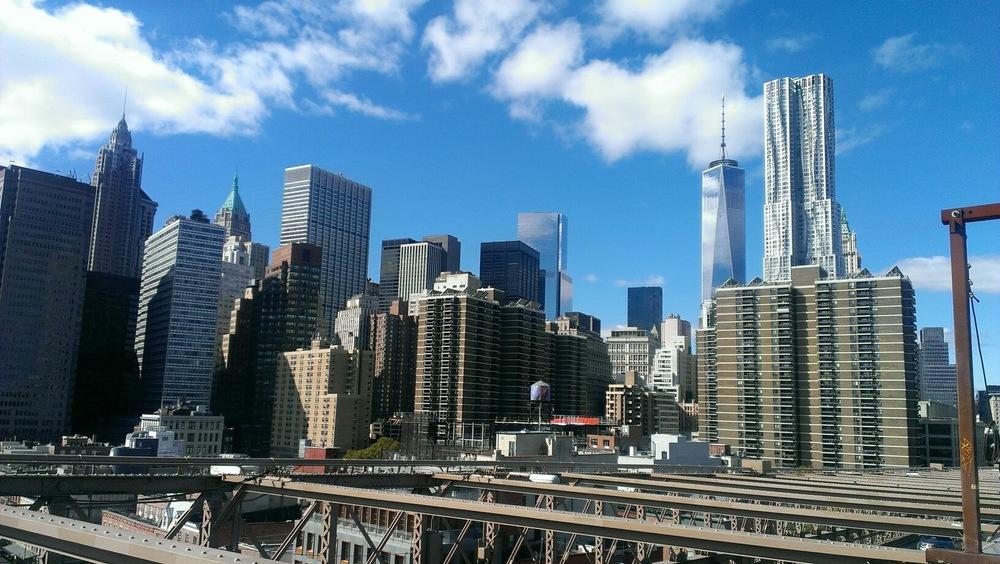 Manhattan skyline taken from the Brooklyn Bridge, October 2014. Pic by @jabberingjourno