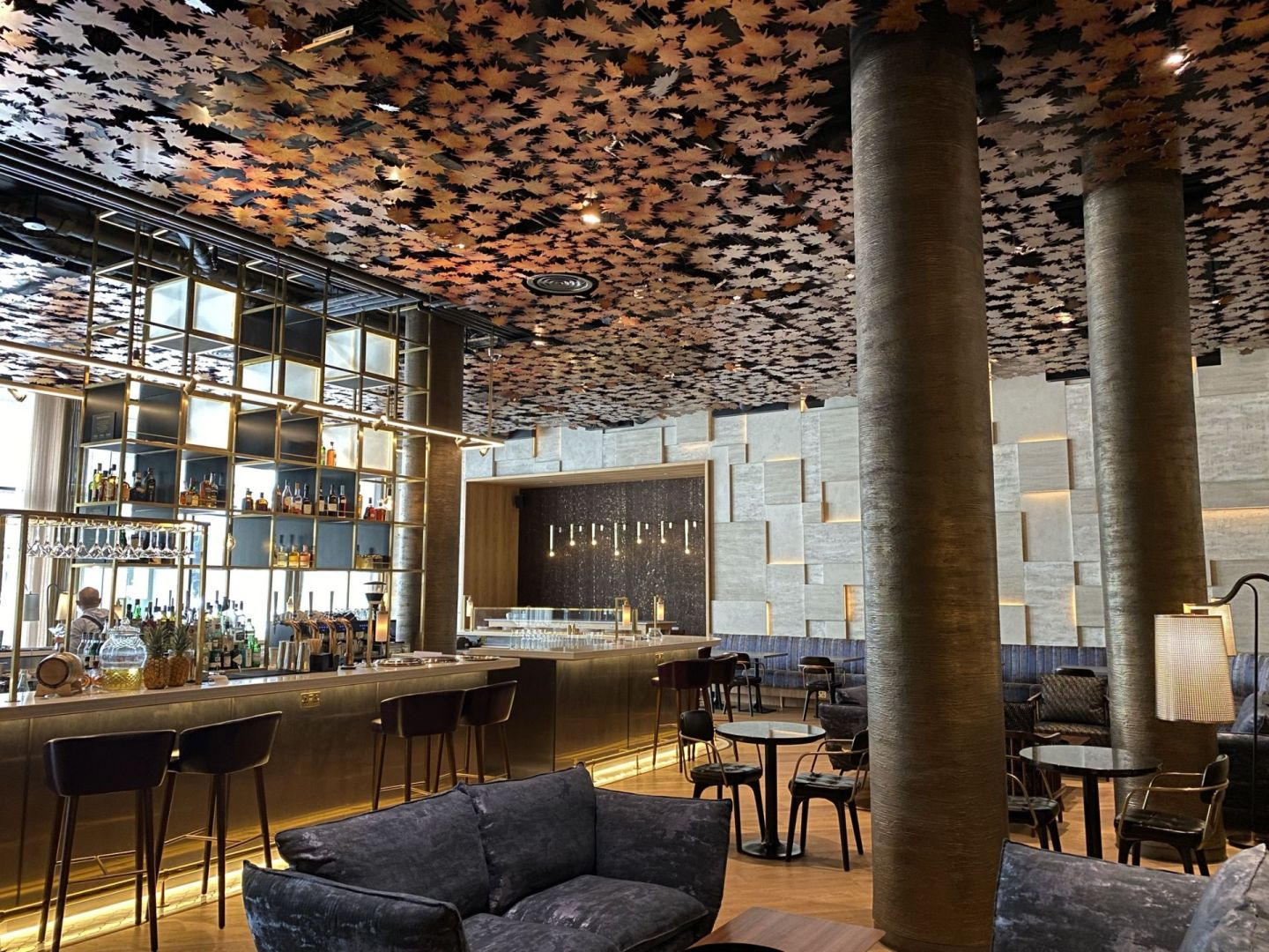 The bar at the Middle Eight hotel, with its sycamore leaf ceiling