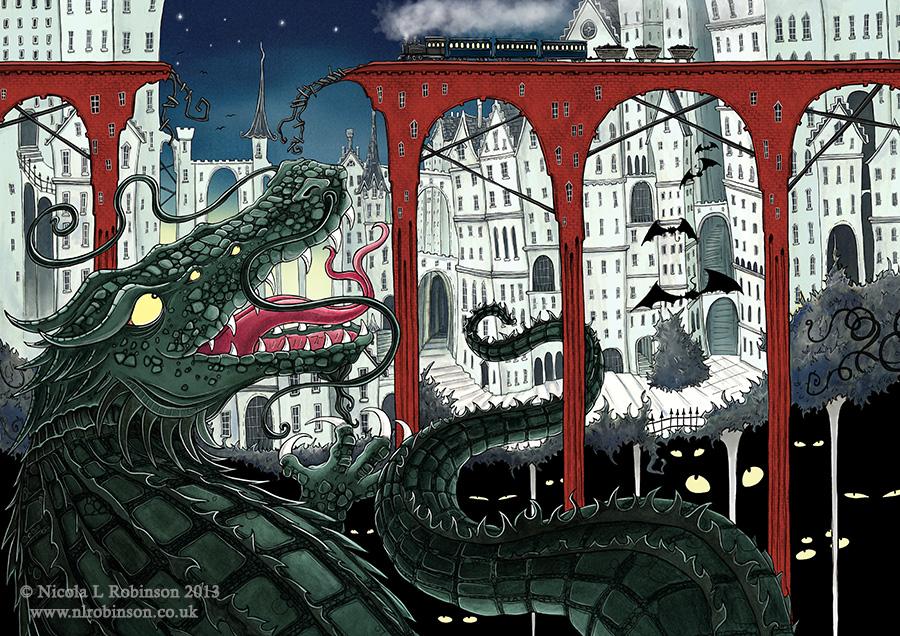 Monster Crocodile Illustration © Nicola L Robinson All rights reserved. www.nlrobinson.co.uk