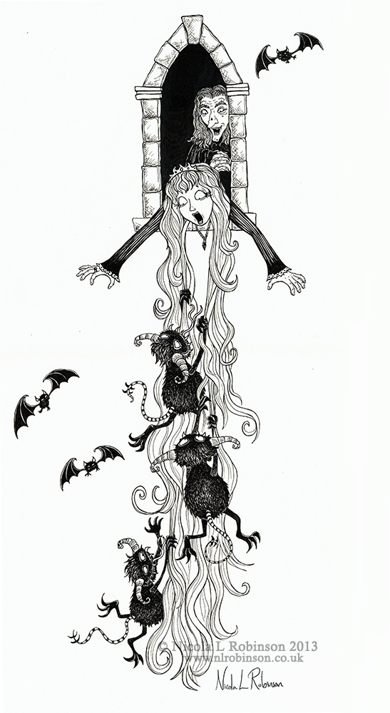 Rapunzel illustration pen and ink © Nicola L Robinson all rights reserved. www.nlrobinson.co.uk
