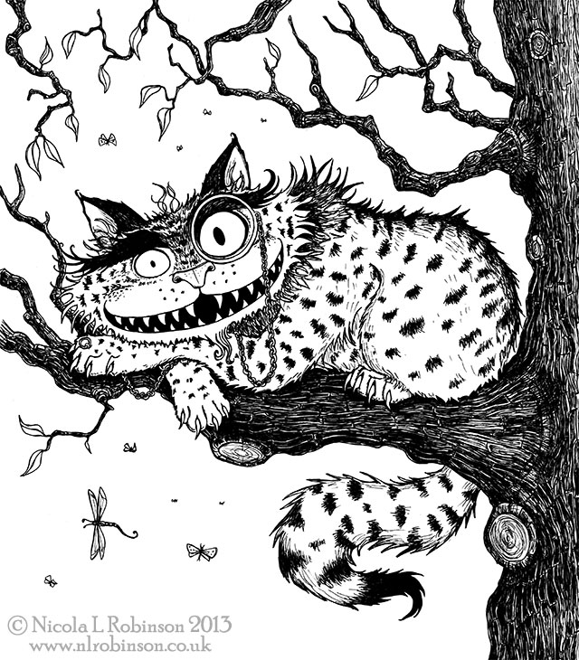 The Cheshire Cat illustration © Nicola L Robinson All rights reserved www.nlrobinson.co.uk pen and ink black and white