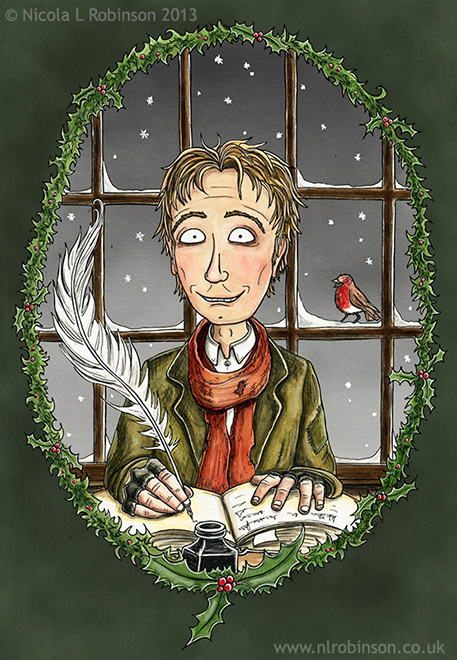 Bob Cratchit Illustration Charles Dickens A Christmas Carol © Nicola L Robinson All rights reserved. www.nlrobinson.co.uk