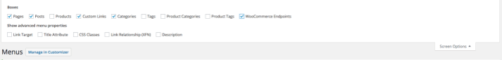 WooCommerce Endpoints menu box