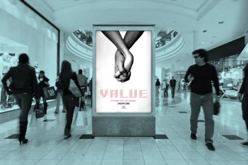 Advertising awareness campaign poster in a shopping mall.