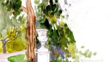 Bath Victoria Park watercolour sketch on location by Nicola Schofield