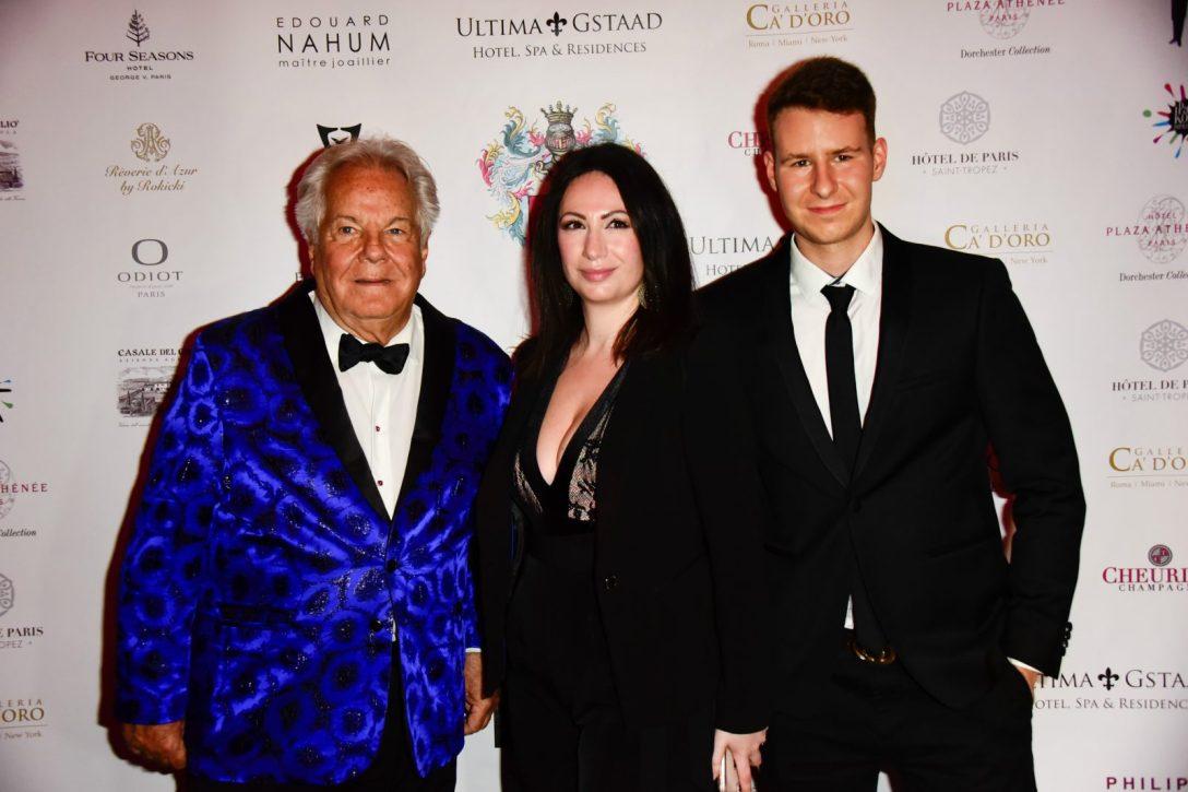 Le jet-setteur Massimo Gargia, l'organisatrice de la soirée Florence Cyberman et Nicolas Rouquet