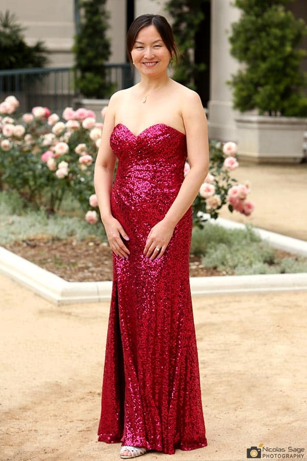 woman in red sequined dress