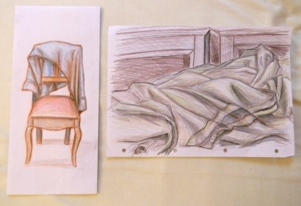 cloth studies in colored pencil