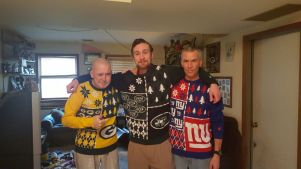 Kevin, Michael (brother) and my dad; Christmas 2015 in the sweaters I bought them