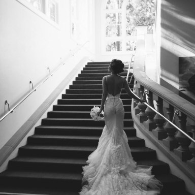 wedding bride on stairs ritz carlton laguna niguel