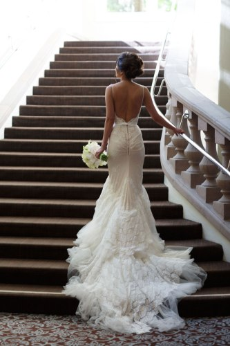 back of bride on stairs wedding ritz carlton laguna niguel