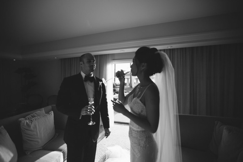 bride and groom toast wedding laguna niguel ritz carlton