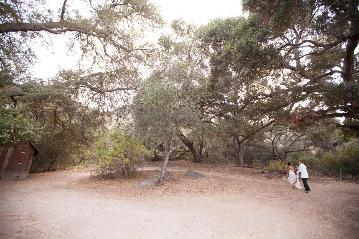 temecula creek inn weddings stonehouse ceremony trees bride and groom