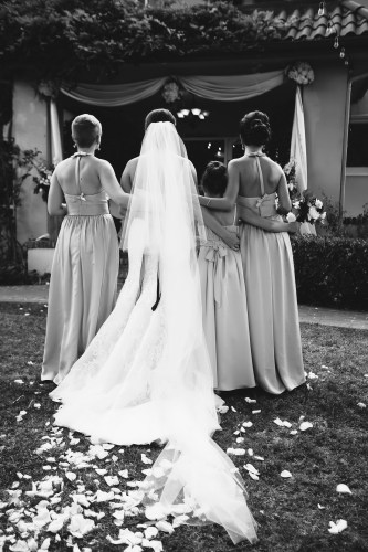 French Estate wedding photographer orange ceremony bridesmaids