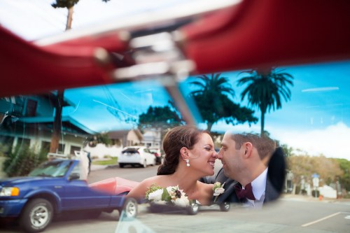 French Estate wedding photographer orange ceremony convertible mustang