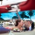 French Estate wedding photographer orange ceremony convertible mustang