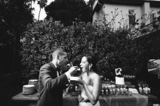 French estate wedding photographer orange reception cake cutting