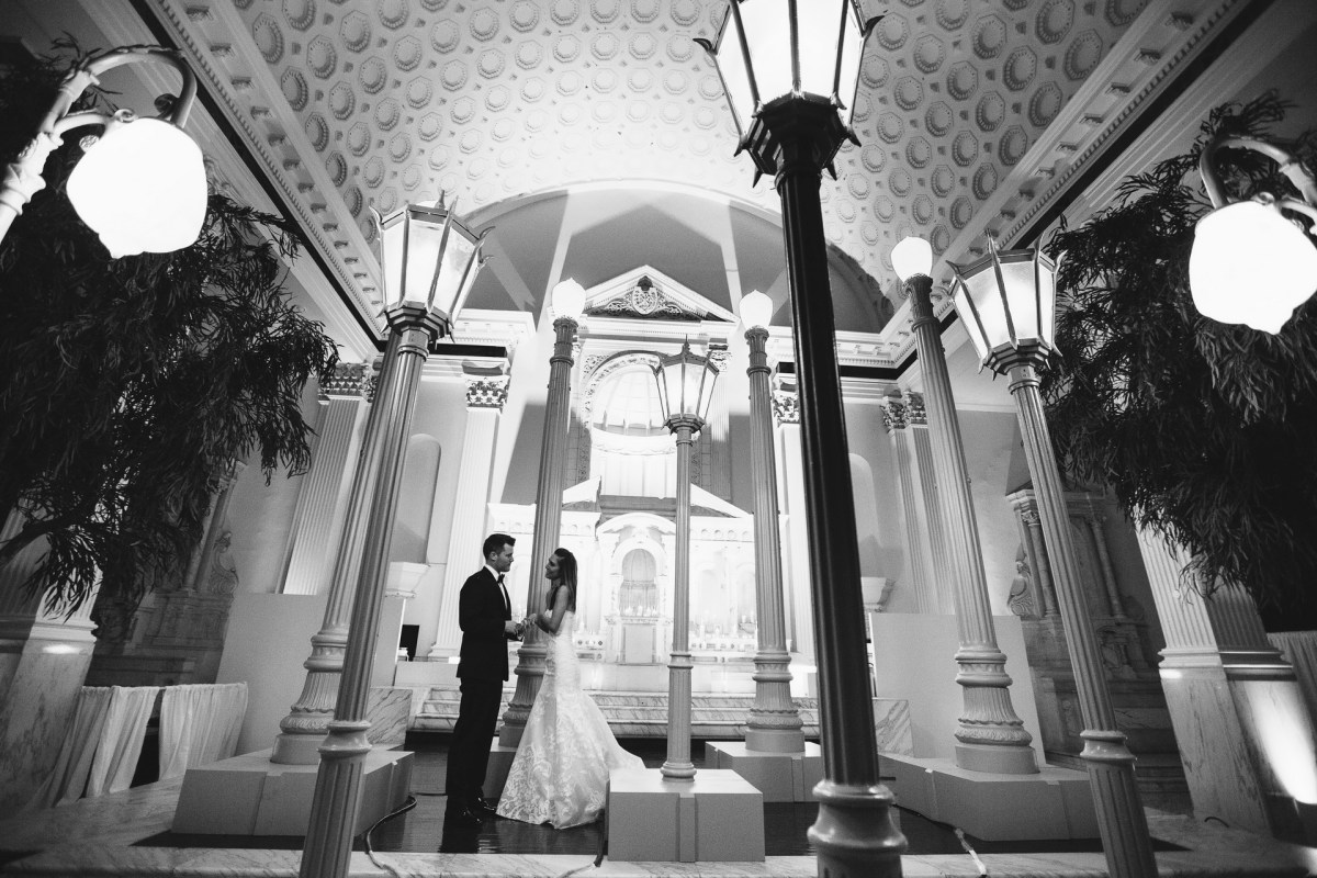 bride and groom vibiana wedding urban light