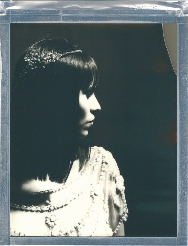 8 x 10 polaroid impossible film bride in studio