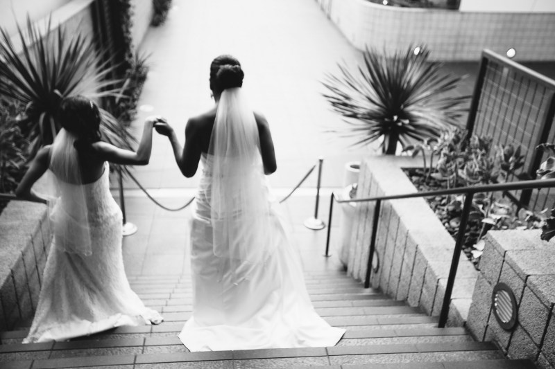 brides walking stairs 7 degrees laguna beach