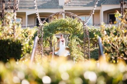 artistic temecula wedding photographer churon winery elepement bride walking down stairs