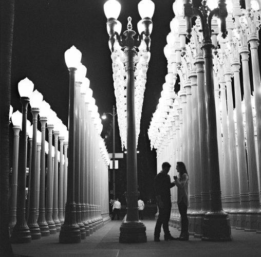 surprise proposal urban lights engagement