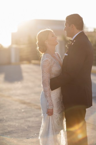 color photo bride and groom parking garage carondelet house