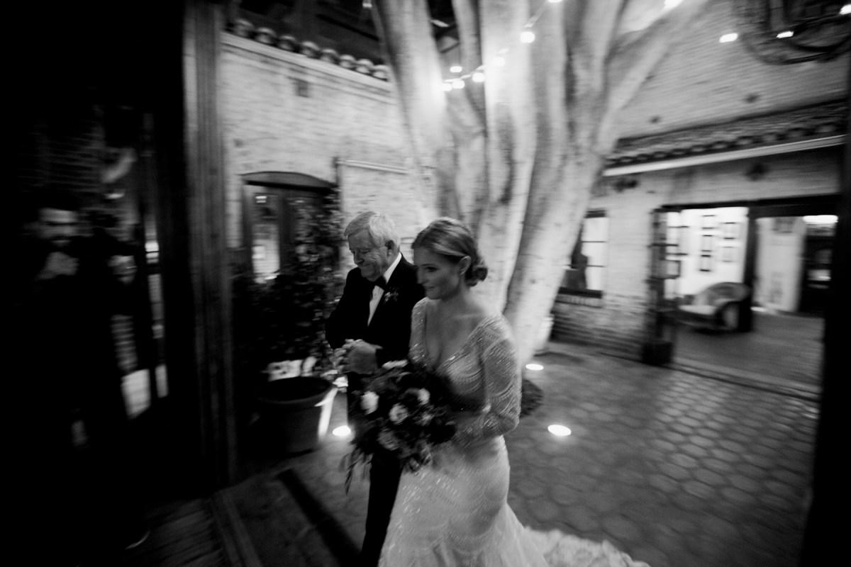 action shot of bride carondelet house wedding