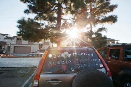 sherman gardens wedding corona del mar just married car