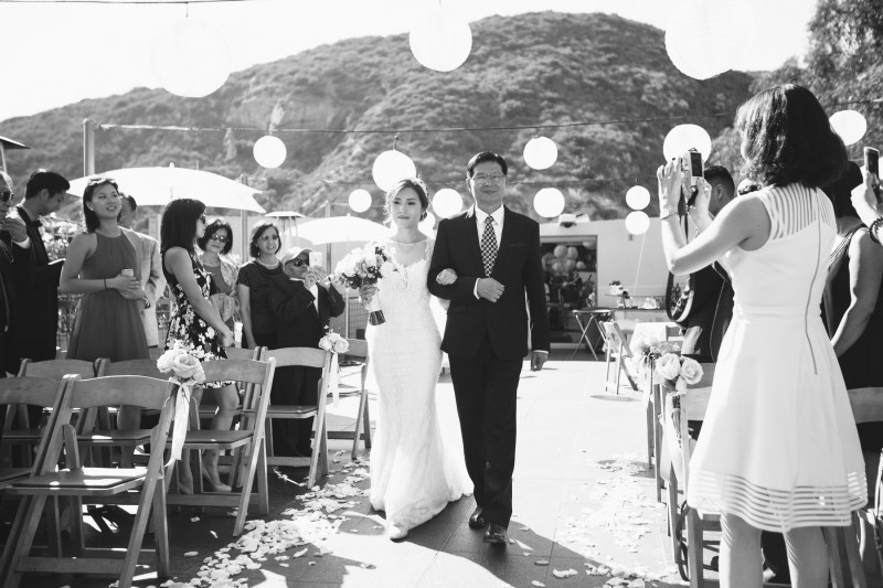 seven degrees wedding laguna beach photographer nicole caldwell father walking daughter down aisle