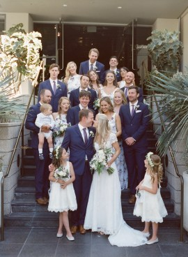 seven degrees wedding photographer nicole caldwell who uses film cinestill bridal party