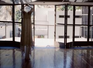 seven degrees wedding photographer nicole caldwell who uses film cinestill dress hanging