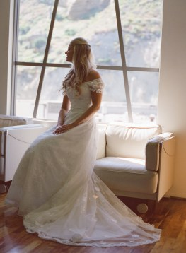 seven degrees wedding photographer nicole caldwell who uses film cinestill bride sitting