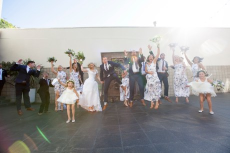 bridal party jump laguna beach wedding venue seven degrees photographer nicole caldwell