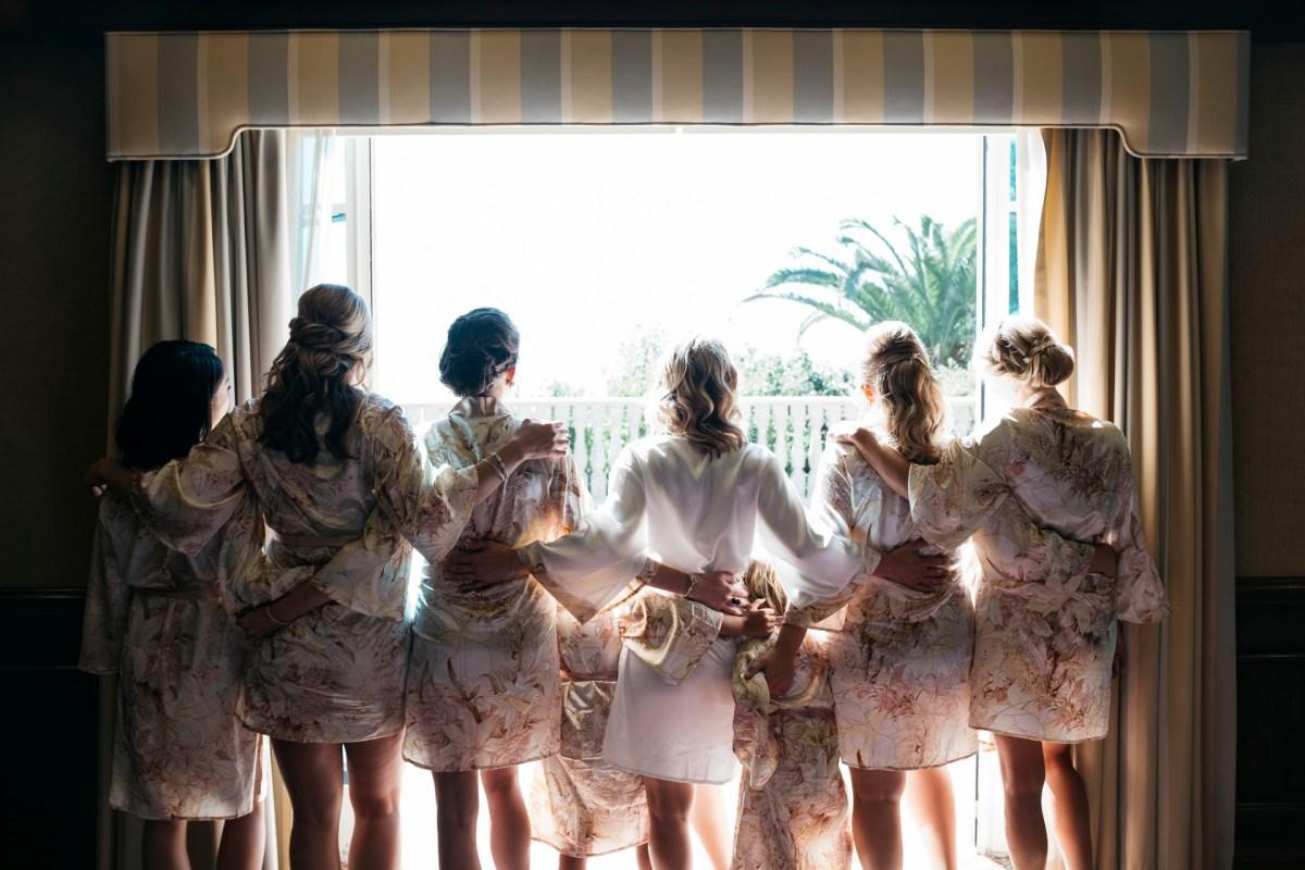 bridesmaids in robes weddinf party bel air bay club wedding palos verdes