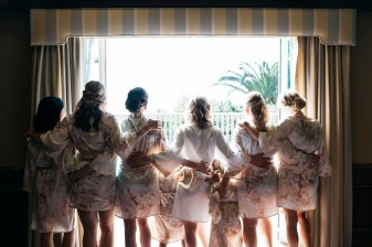 bridesmaids in robes weddinf party bel air bay club wedding palos verdes
