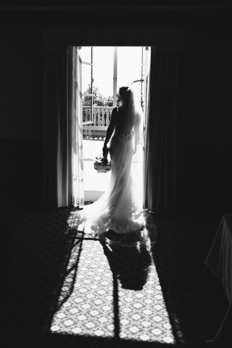 bride in window bel air bay club wedding palos verdes