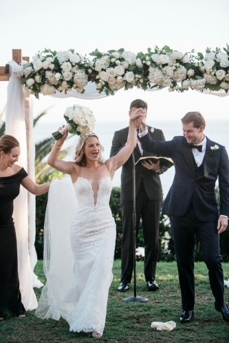bride and groom ceremony wedding bel air bay club wedding palos verdes