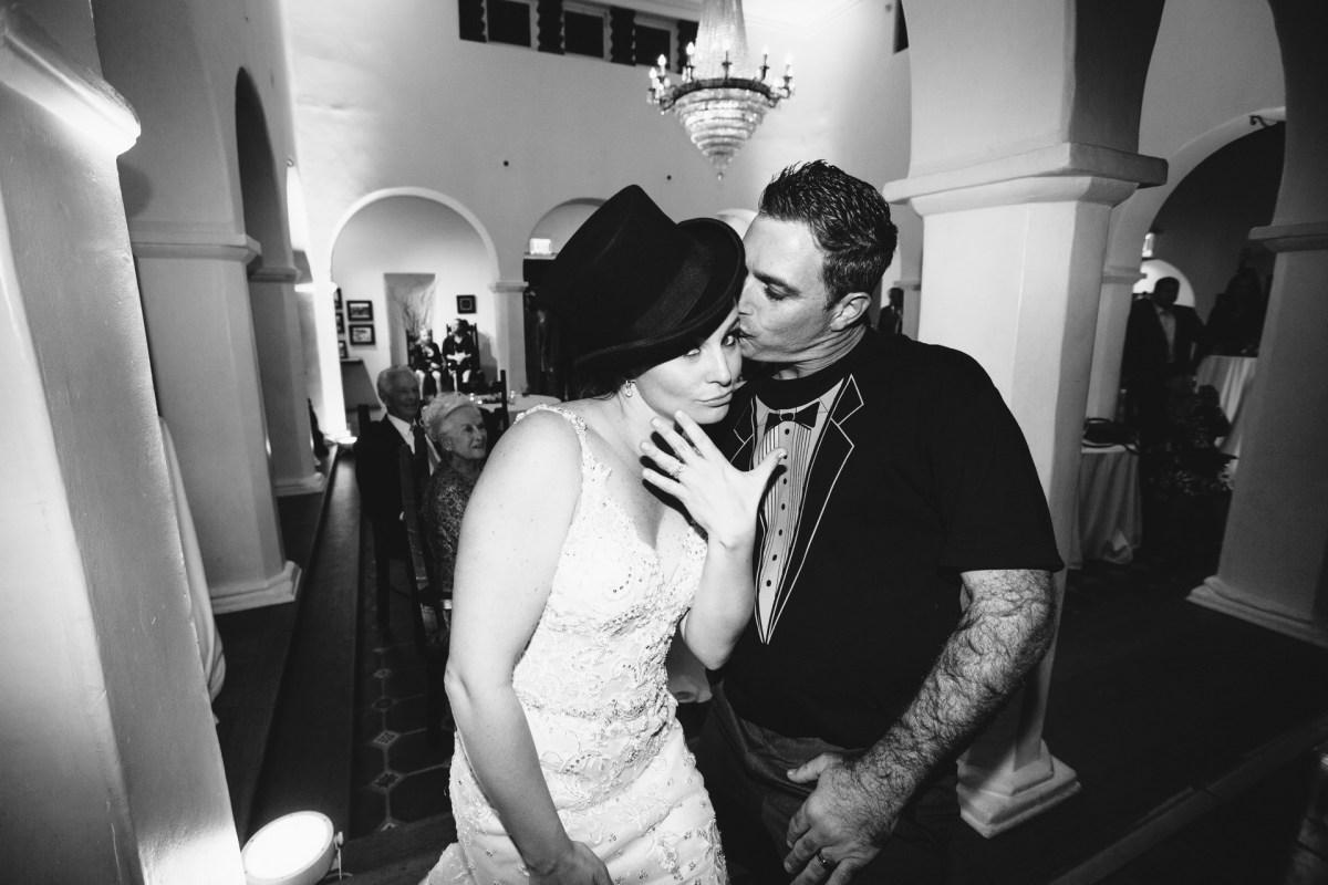 casa romantica san clemente wedding photographer bride and groom on dance floor