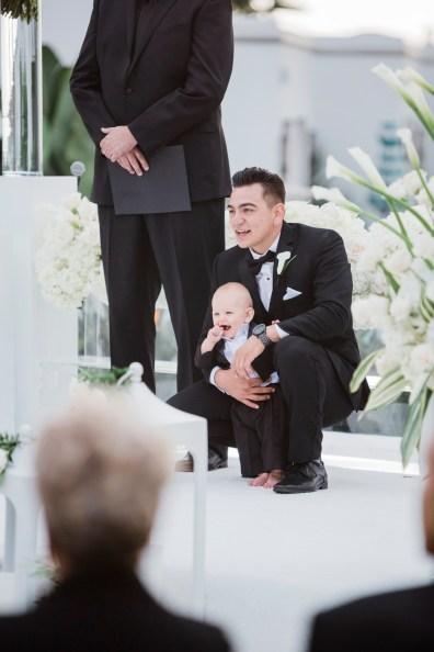 groom waiting for bride Monarch beach resort wedding photographer nicole caldwell