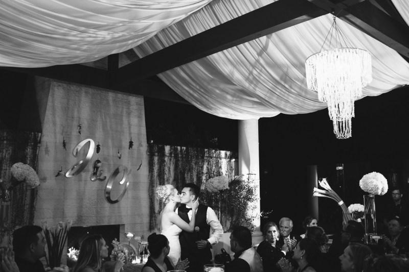 bride and groom kiss recption Monarch beach resort wedding photographer nicole caldwell